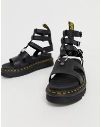 Sandalias romanas de cuero gruesas negras de Dr. Martens