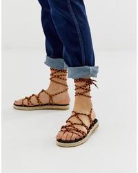 Sandalias romanas de cuero marrónes de ASOS DESIGN