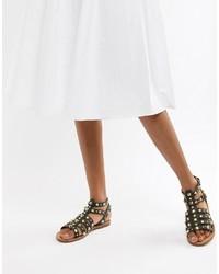 Sandalias romanas de cuero negras de ASOS DESIGN