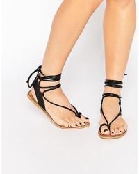 Sandalias Romanas de Cuero Negras de Asos