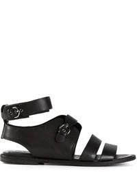 Sandalias romanas de cuero negras de Jil Sander