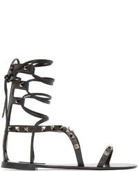 Sandalias romanas de cuero negras de Valentino