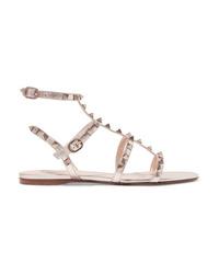 Sandalias romanas de cuero plateadas de Valentino