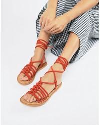 Sandalias romanas de cuero rojas de ASOS DESIGN