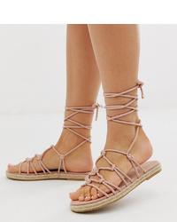 Sandalias romanas de cuero rosadas de ASOS DESIGN