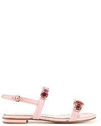 Sandalias romanas de cuero rosadas de Moschino