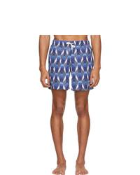 Shorts de baño con estampado geométrico azules de Bather