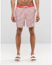 Shorts de baño con estampado geométrico rosados de Asos