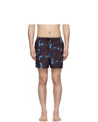 Shorts de baño con print de flores azul marino de Dries Van Noten