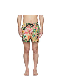 Shorts de baño con print de flores en multicolor de Dries Van Noten