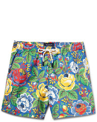 Shorts de baño con print de flores verde oliva de Etro