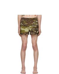 Shorts de baño de camuflaje verde oliva de Givenchy