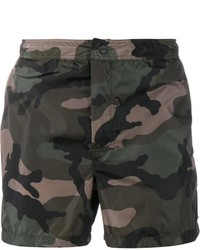 Shorts de baño de camuflaje verde oscuro de Valentino