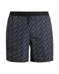 Shorts de baño de paisley en gris oscuro de Hugo Boss