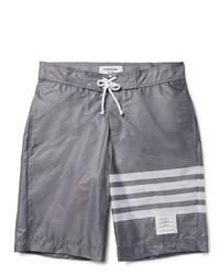 Shorts de baño de rayas horizontales grises de Thom Browne