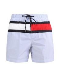 Shorts de baño de rayas verticales celestes de Tommy Hilfiger