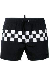 Shorts de baño de tartán negros de DSQUARED2