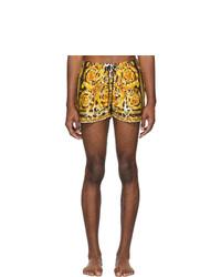 Shorts de baño estampados amarillos de Versace Underwear