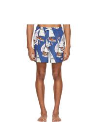 Shorts de baño estampados azules de Bather