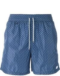 Shorts de baño estampados azules de Salvatore Ferragamo