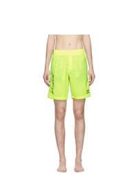 Shorts de baño estampados en amarillo verdoso de Off-White