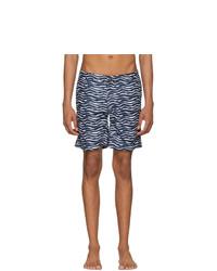 Shorts de baño estampados en azul marino y blanco
