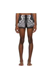Shorts de baño estampados en negro y blanco de Dolce and Gabbana