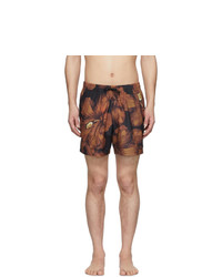 Shorts de baño estampados marrónes de Dries Van Noten