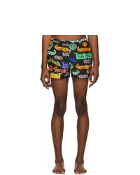 Shorts de baño estampados negros de Gucci