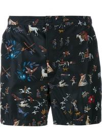 Shorts de baño estampados negros de Valentino