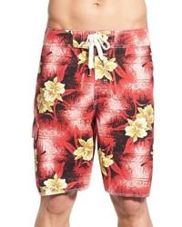 Shorts de baño estampados rojos