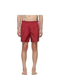 Shorts de baño estampados rojos de Gucci
