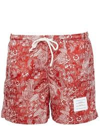 Shorts de baño estampados rojos de Thom Browne