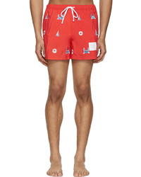 Shorts de baño rojos de Thom Browne