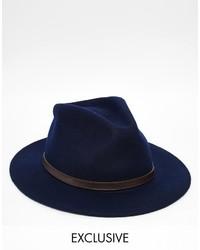Sombrero de lana azul marino de Reclaimed Vintage