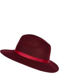 Sombrero de lana burdeos
