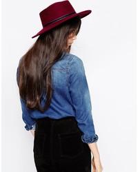 Sombrero de lana burdeos de Asos