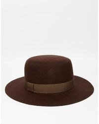 Sombrero de lana en marrón oscuro de Asos