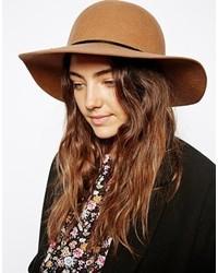 Sombrero de lana marrón claro de Asos