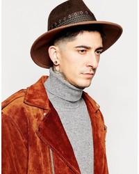 Sombrero de lana marrón de Asos