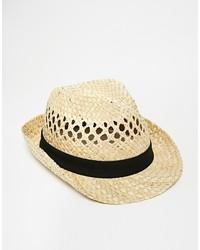Sombrero de Paja Beige de Selected