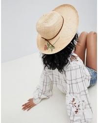 Sombrero de paja con print de flores marrón claro de Brixton