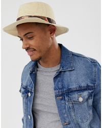 Sombrero de paja de paisley en beige de ASOS DESIGN