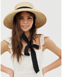 Sombrero de paja en beige de ASOS DESIGN
