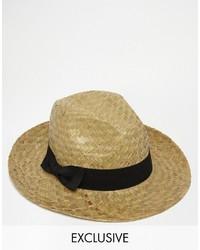 Sombrero de paja en beige de Reclaimed Vintage