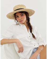 Sombrero de paja marrón claro de ASOS DESIGN