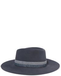 Sombrero de rayas horizontales en gris oscuro de Maison Michel
