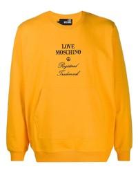 Sudadera bordada naranja de Love Moschino