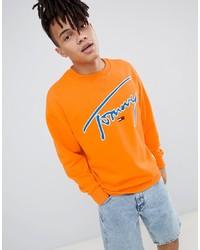 Sudadera bordada naranja de Tommy Jeans