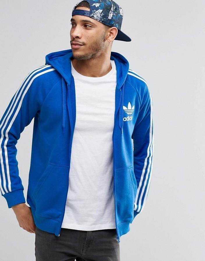 sudadera adidas capucha azul